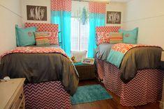 College Girl Dorm Room Bedding   Dorm Bedding www.decor-2-ur-door.com coral and aqua hot dorm room collection
