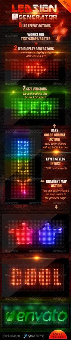 LED Lights Sign Generator Photoshop Action - Actions Photoshop