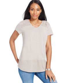 Crochet-Trim Shirttail Top, Only at Macy's