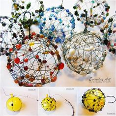 Creative Ideas - DIY Wire and Beaded Ball Ornaments #craft #decor
