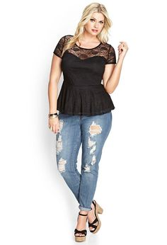 NEW FOREVER 21 PLUS SIZE KNOTTED BLACK LACE PEPLUM TOP SIZE 1X