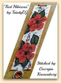 BP-FLO-072  Red Hibiscus  Odd Count Peyote Stitch by TrinityDJ