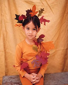 Leaf Garland Costume - We copied the leaves of maple, oak, ginkgo, sassafras, and birch trees for this autumnal getup, but you can use any leaf shape you wish. Leaves made of crepe paper. Martha Stewart