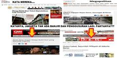 "Katanya Tak Ada Lagi Banjir dan Penggusuran di Jakarta  [portalpiyungan.com]Sejak Jokowi menerima amanah sebagai Gubernur DKI Jakarta tahun 2012 Jakarta tidak pernah lagi banjir. Jokowi dan media pendukungnya menggunakan istilah ""GENANGAN"" untuk menggantikan kata ""BANJIR"". Tak peduli luapan air tersebut berketinggian sejengkal sebetis sepaha sepinggang sedada atau lebih tinggi dari kepala semua disebut genangan bukan banjir. Warisan istilah ""GENANGAN"" ini diterima dan dilanjutkan dengan baik…"