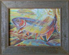 Fine Spotted Cutthroat trout painting- includes frame.  Available on Etsy www.etsy.com/shop/JupiterJennyArts
