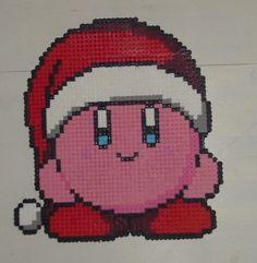 Hama Beads - Christmas Kirby by ~acidezabs on deviantART