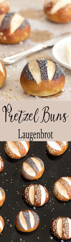 These pretzel buns (Laugenbrot) have a chewy, golden outer crust and a soft centre. If you love pretzels, you'll love these buns! Bread Bun, Easy Bread, Bread Food, Scones, Pretzel Bun, Pretzel Bread, Homemade Pretzels, Burger Buns, Biscuit Recipe