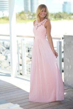 Pink Lace Maxi Dress