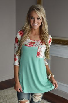 Spring Garden Floral Top ~ Mint – The Pulse Boutique