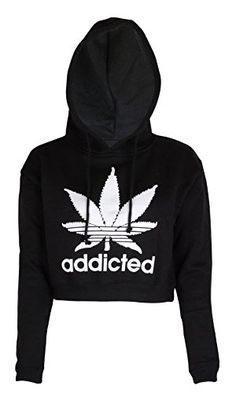 Noroze Womens Addicted Crop Top Hoodie * To view further for this item, visit the image link. (It is an affiliate link and I receive commission through sales) Crop Top Hoodie, Cropped Hoodie, Black Hoodie, Sports Crop Tops, Sports Hoodies, Cropped Tops, Hoodie Sweatshirts, Weed Hoodies, Pullover Mode