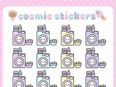 when i call — Kawaii Laundry Planner Stickers (Washing Machine,...