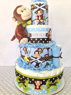 Deluxe Monkey Diaper Cake in Brown and Green, Baby Boy Monkey Baby Shower Centerpiece, Monkey Baby Shower Decorations by AllDiaperCakes on Etsy