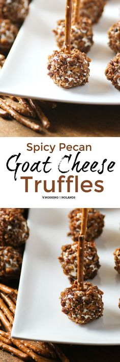 I had never served them on the pretzel sticks before but Spicy Pecan Goat Cheese Truffles are perfect on a little rod! An appetizer like this is elegant....