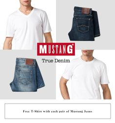 Free Tshirt with each pair of Mustang Jeans! #jeansstore #jeans #tshirt #mustang #basic #free #promotion