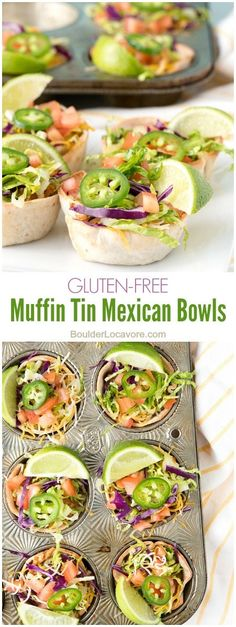 Muffin Tin Mexican Bowls. Shredded chicken, refried beans, salsa and cheese topped with fresh taco toppings. Perfect for single portions or party appetizers! Gluten-free. - BoulderLocavore.com #udisglutenfree #ad