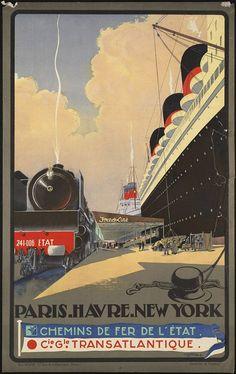 vieille affiche voyages transatlantiques