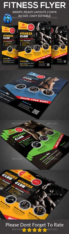 Fitness Flyer Design Template - Sports Events Flyer Design Template PSD. Download here: https://graphicriver.net/item/fitness-flyer/17706506?ref=yinkira