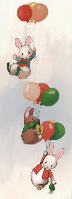 Flying bunnies #2 Art Print by Delphine Doreau | Society6