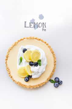 lemon pie topped with whipped cream and blueberries - a refreshing dessert recipe for spring or summer Köstliche Desserts, Delicious Desserts, Dessert Recipes, Yummy Food, Lemon Recipes, Sweet Recipes, Easy Recipes, Cupcakes, Sweet Pie