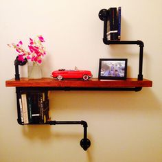 Industrial Single Shelf Wall Unit - Solid Wood and Iron Pipe on Etsy, $155.00