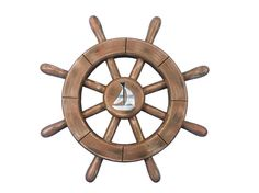 Rustic Wood Finish Decorative Ship Wheel With Sailboat 12""