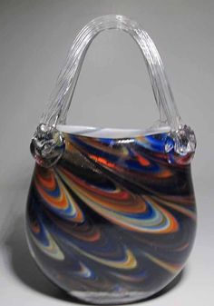 Vintage Murano Art Glass Clear Handled Pulled Feather Multi-Colored Purse Vase
