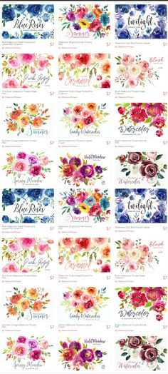 watercolor bright purple, yellow, pink floral png clipart separate elements and bouquets Free Watercolor Flowers, Pink Watercolor, Free Clip Art Flowers, Free Flower Clipart, Watercolor Tattoo, Free Printable Art, Free Printables, Floral Printables, Free Graphics
