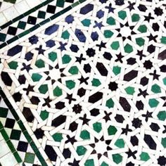 Beautiful mosaic flooring with emerald detailing