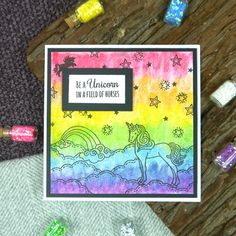 Card created using For the Love of Stamps by Hunkydory Crafts Unicorn Dreams Stamp Set Hunkydory Crafts, All Paper, Cute Creatures, Cardmaking, Unicorn Cards, Stamping, November, Paper Crafts, Stamp Sets