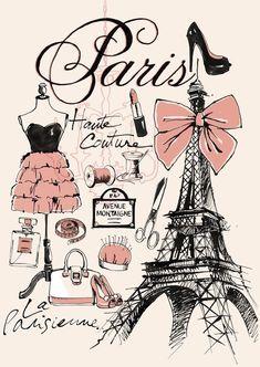 """Eiffel Tower ♥ What to """"Where"""" – Paris Poster Paris Party, Paris Theme, Thema Paris, Illustration Parisienne, Paris Kunst, Art Parisien, Paris Rooms, Paris Mode, Fashion Wallpaper"""