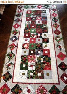 Christmas Box Quilted Table Runner, Scrappy Patchwork in 1 inch strips on gray…
