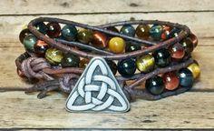 Men's Cetic Knot Bracelet Leather Wrap Tiger Eye by DesignsByJen1,