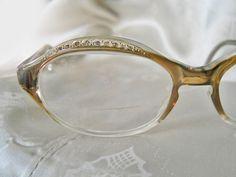 cc64796f9d Vintage Rhinestone Eyeglass Frames - 60s Eye Glasses - 1960s Mod Rhinestone  Eyewear