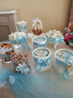 Candy buffet courtesy of Dulce Designs Cincinnati Ohio. Baby Shower Cakes, Baby Shower Favors, Idee Baby Shower, Baby Shower Deco, Shower Bebe, Baby Shower Parties, Baby Shower Themes, Baby Boy Shower, Hot Air Balloon Party