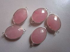 NATURAL PINK CHALCEDONY OVAL  STERLING SILVER  2LOOP CONNECTORS 5 PCS  16X20MM