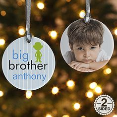 2-Sided Big/Baby Brother & Sister Personalized Photo Ornament