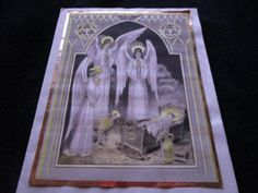 Vtg-Parchment-FOIL-Angles-at-Nativity-Christmas-Card-BLESS-YOUR-CHRISTMAS-Signed