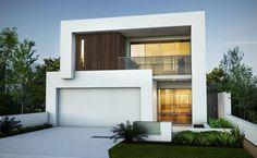 Planos y fachada de moderna casa de dos plantas   Construye Hogar