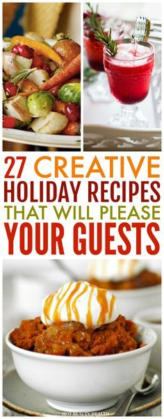 To help get your creative juices flowing, I've gathered an abundance of easy holiday recipe ideas for Thanksgiving and/or Christmas. Here are 27 holiday eats (side dishes, desserts, and drinks) to add next to the turkey! #holidaytreats #christmas #thanksgiving #easyrecipes #holidayrecipes #christmastreats #desserts #sidedishes #drinks