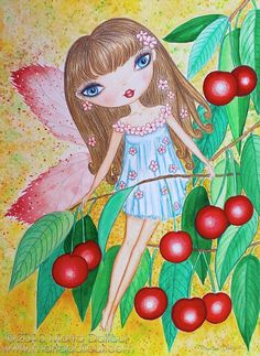 Fairy and Cherries Art print 8 x 10 by MartaDalloul on Etsy, $15.00