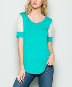 Take a look at this Mint Curved-Hem Lace Short-Sleeve Top today!