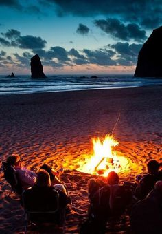 A bonfire near Haystack Rock in Cannon Beach, Oregon.