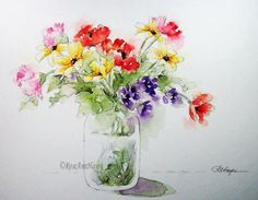 Watercolor Painting Bouquet of Flowers Floral Print Garden Wildflowers