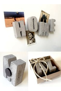 Simple and pretty concrete letter magnets. Cool kitchen decor. #commissionlink #concrete #cement #letters #magnets #kitchen #homedecor
