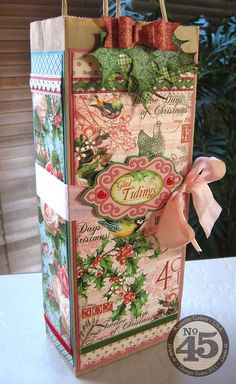 Day 3: Learn how to make this great gift bag by Annette - perfect for wine, liquor, or coffee syrup! This beautiful wrapping is a gift itself! #graphic45 #12daysofgifttutorials #giftwrap