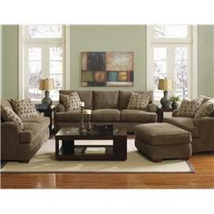 klaussner vaughn chair and a half and matching ottoman with exposed wood feet darvin furniture living room setsliving