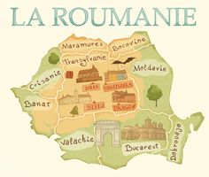 Map of Romania - Ana Laura Perez Romania Map, Continents And Countries, Visual Map, Travel Illustration, The Beautiful Country, Central Europe, Travel Themes, Vintage Travel Posters, Sibu