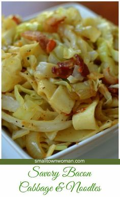 This fantastically simple Savory Bacon Cabbage and Noodles combines bacon, cabbage, egg noodles, garlic and seasonings into a delectable taste treat (Cabbage Recipes Paleo) Cabbage And Bacon, Fried Cabbage, Cabbage Rolls, Cabbage And Noodles With Bacon Recipe, Recipes Using Egg Noodles, Cooked Cabbage Recipes, Noodle Recipes, Pasta Recipes, Pasta Dishes