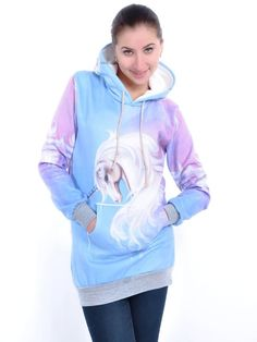 Women's #Fashion #Clothing: #Tops, Shirts, Tunics, and Hoodies: Anna-Kaci #Multicolored Fantastical #Unicorn #Print Pullover Fashion Hoodie Pink, Purple, Blue, and White: Clothes