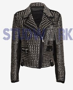 Women New Full Heavy Metal Silver Punk Stud Work Genuine Leather Black Color Biker Brando Style Jacket Bad Boy Style, Trendy Mens Fashion, Diy Fashion, Studded Leather Jacket, Types Of Jackets, Heavy Metal, Silver Metal, Jacket Style, Biker